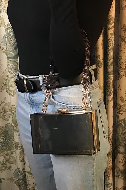 Chain Chain Chain Box Purse-Black