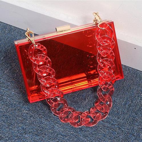 Chain Chain Chain Box Purse-Red