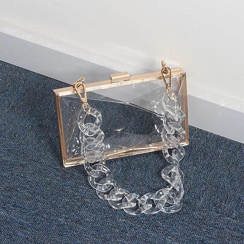 Chain Chain Chain Box Purse-Clear