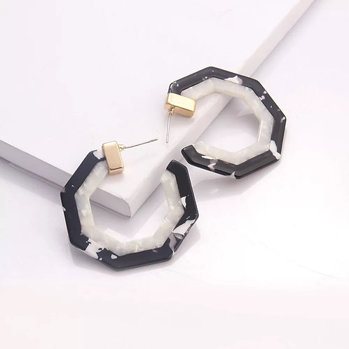 Hexale Hoop Earrings- B&W