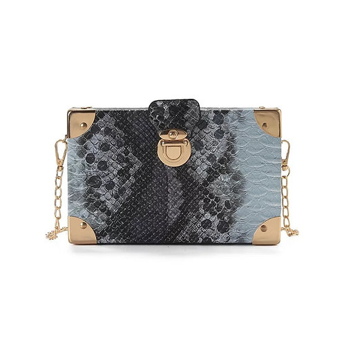 Chu'mana Snake Box Purse-Blue Gray