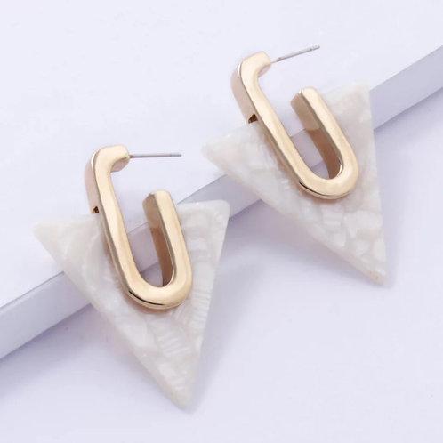 Vectrometry Acrylic Earrings- Blanco
