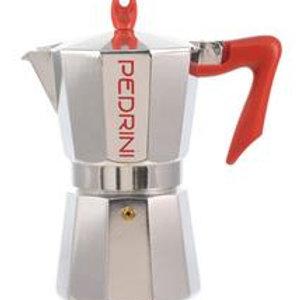 Pedrini Espresso Coffee Maker Chrome/Red