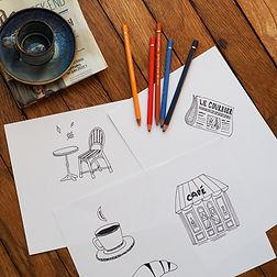 Dessin Tissu Café Croissant - Artwist