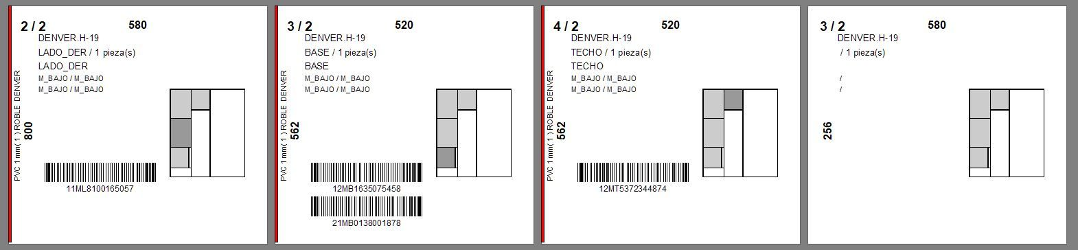 Labels with barcode for CNC