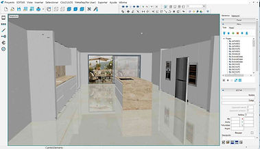 View of the program in 3D design mode. Corpus furniture manufacturing software. Integration with numerous post processors for various CNC machines, multi-lingual adaptation.