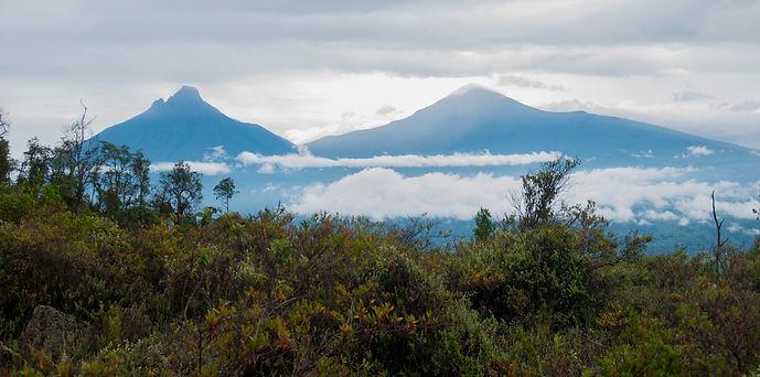 Volcanoes viw from Mount Nyirongongo, D R Congo