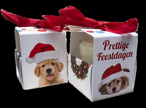 """Wenskaarsje Laura Lilly - """"Prettige Feestdagen - Puppy"""" (Verpakt per 3)"""