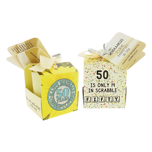 """Wenskaarsje Laura Lilly - """"50 Years"""" (Verpakt per 3)"""