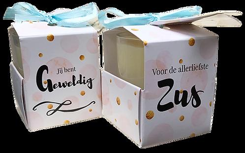 """Wenskaarsje Laura Lilly - """"Zus"""" (Verpakt per 3)"""