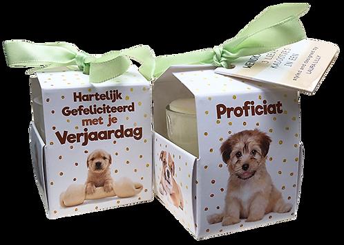 """Wenskaarsje Laura Lilly - """"Verjaardag Puppy"""" (Verpakt per 3)"""