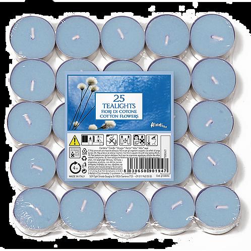 "Tealights x 25 - 4u - ""Cotton Flowers"" (Verpakt per 24)"