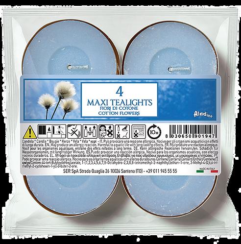 "Maxi Tealights - 10u - ""Cotton Flowers"" (Verpakt per 12)"
