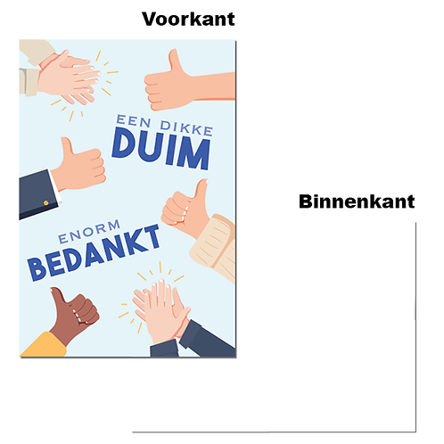 """Wenskaart - """"Een dikke duim"""" (6 stuks)"""