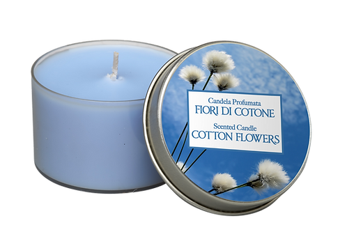 "Tin Candle - ""Cotton Flowers"" (Verpakt per 3)"