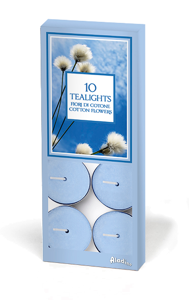 "Tealights x 10 - 4u - ""Cotton Flowers"" (Verpakt per 10)"