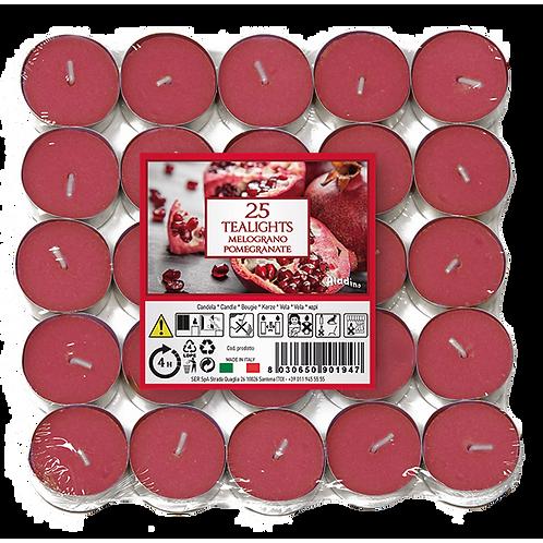 """Tealights x 25 - 4u - """"Pomegranate"""" (Verpakt per 24)"""