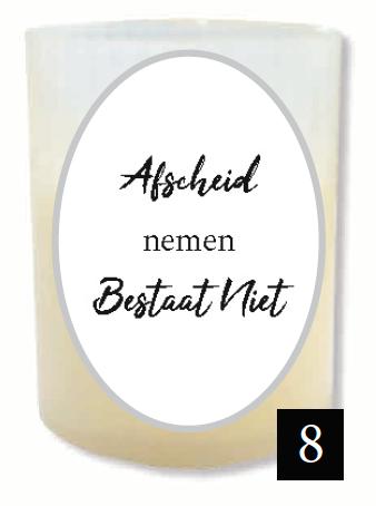 """Gedenklichtje - """"Afscheid nemen bestaat niet"""" (Verpakt per 3)"""