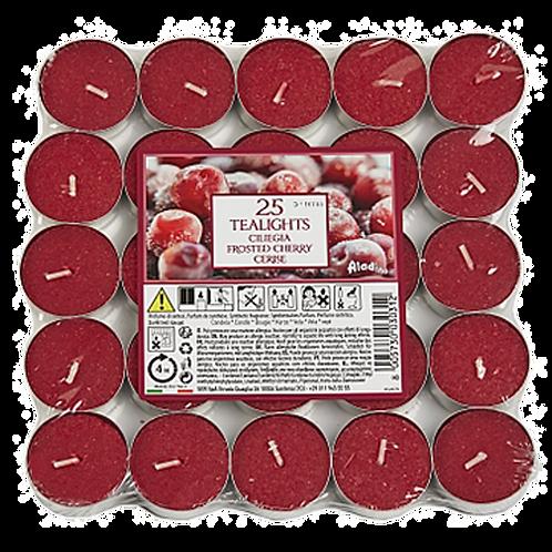 "Tealights x 25 - 4u - ""Frosted Cherry"" (Verpakt per 24)"