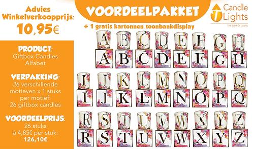 Voordeelpakket Giftbox Candles Alphabet (26 motieven x 1 stuks)