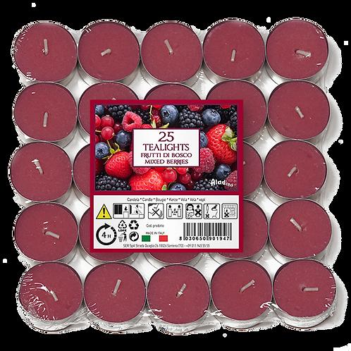 """Tealights x 25 - 4u - """"Mixed Berries"""" (Verpakt per 24)"""