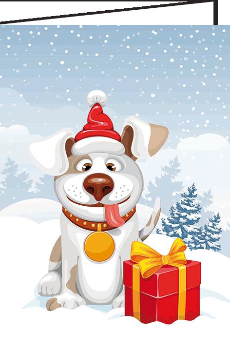 """Nieuwjaarsbrief A5 - """"Hondje"""" (10 stuks)"""