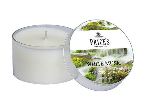 """Tin Candle - """"White Musk"""" (Verpakt per 3)"""