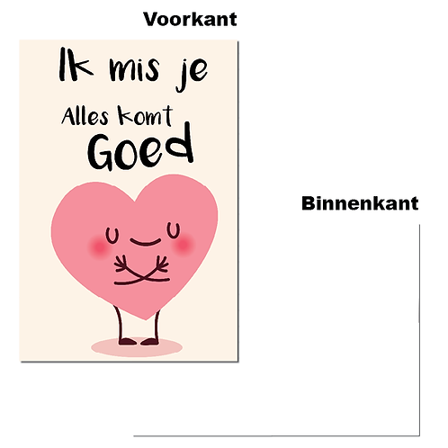 "Wenskaart - ""Ik mis je"" (6 stuks)"