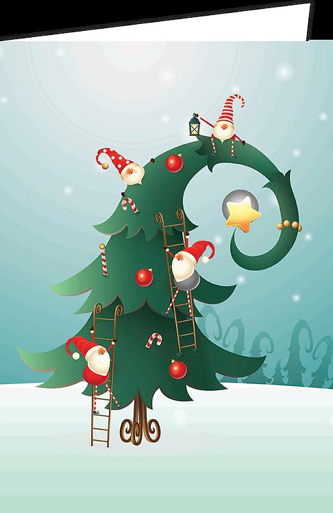 """Nieuwjaarsbrief A4 - """"Kerstboom en Kabouters"""" (10 stuks)"""