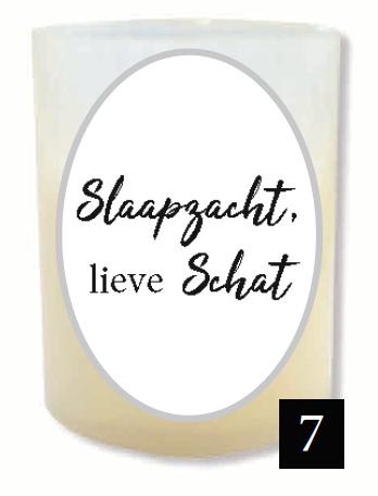 """Gedenklichtje - """"Slaapzacht, lieve schat"""" (Verpakt per 3)"""