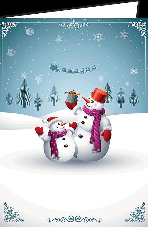"""Nieuwjaarsbrief A4 - """"Sneeuwmannen"""" (10 stuks)"""
