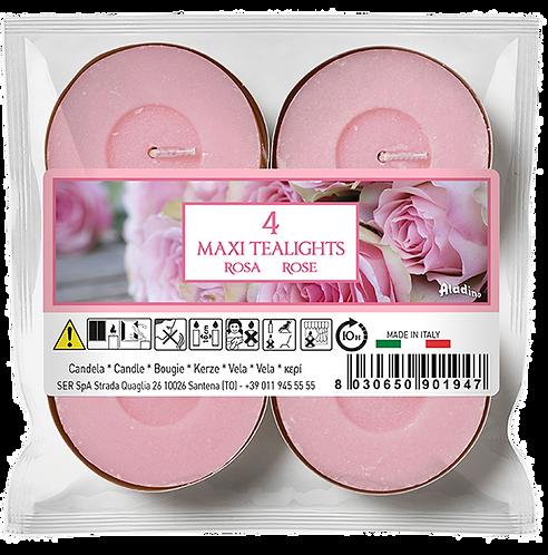 """Maxi Tealights - 10u - """"Rose"""" (Verpakt per 12)"""
