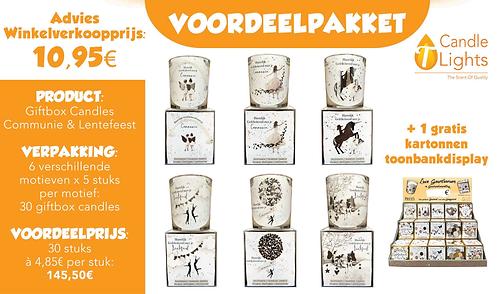 Voordeelpakket Giftbox Candles Communie-Lentefeest (6 motieven x 5 stuks)