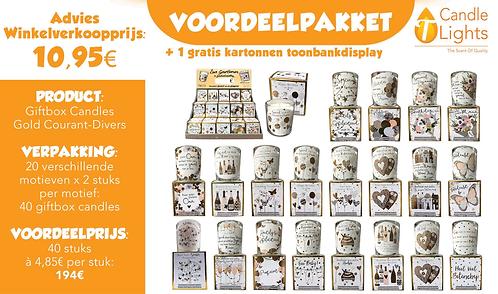 Voordeelpakket Giftbox Candles Gold (20 motieven x 2 stuks)