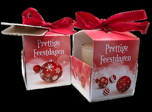"Wenskaarsje Laura Lilly - ""Prettige Feestdagen - Kerstballen"" (Verpakt per 3)"