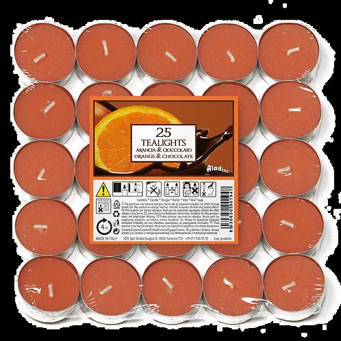 "Tealights x 25 - 4u - ""Orange & Chocolate"" (Verpakt per 24)"