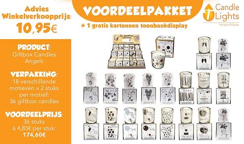 Voordeelpakket Giftbox Candles Angels (18 motieven x 2 stuks)