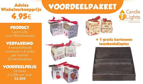 Voordeelpakket Valentijn Wenskaarsjes (4 wenskaarsjes x 6 stuks)