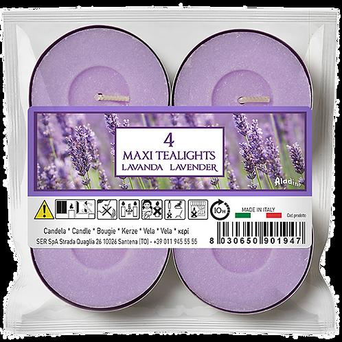 """Maxi Tealights - 10u - """"Lavender"""" (Verpakt per 12)"""