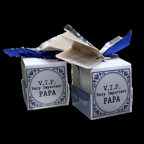 "Wenskaarsje Laura Lilly - ""Very important papa "" (Verpakt per 3)"
