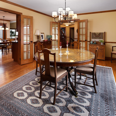 Formal dining room looking into eat-in kitchen