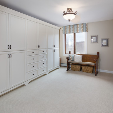 Built-ins complement the master suite dressing area