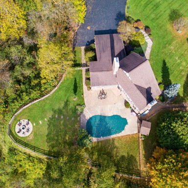overhead view of house and pool area