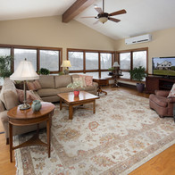 Windows on 3 sides of family room