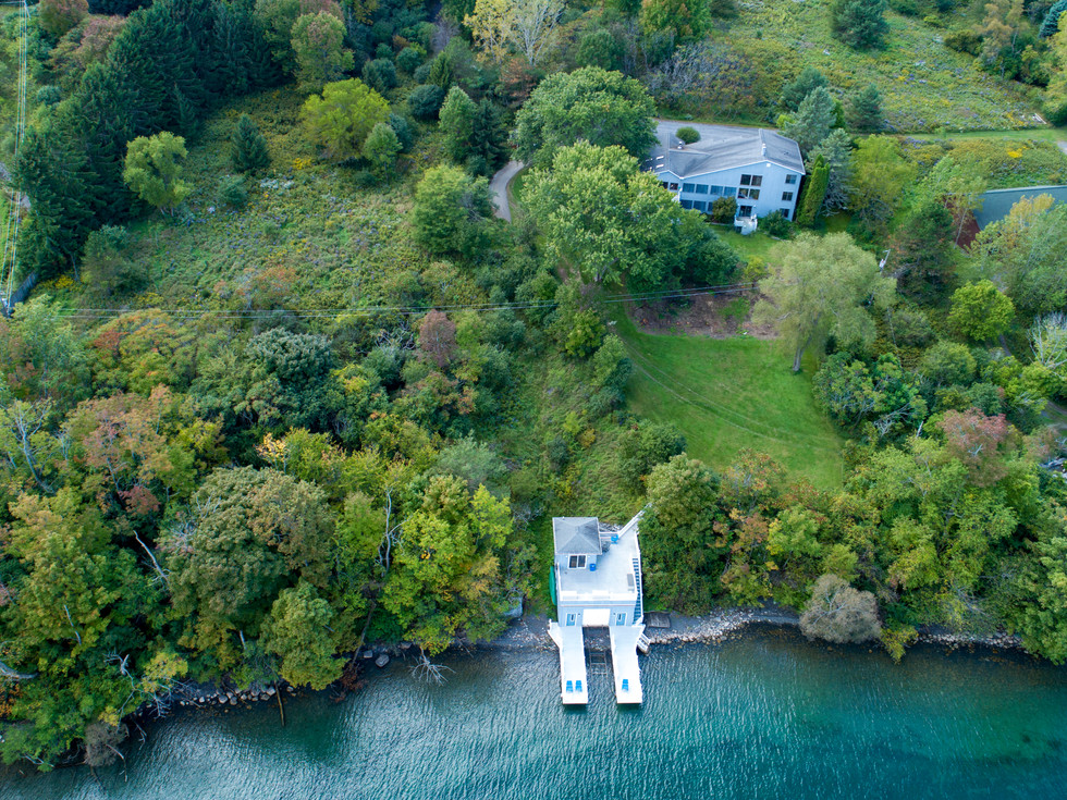 An Overhead View of the Boathouse and Home