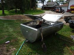 Steph Prepping the Rain Water Tank