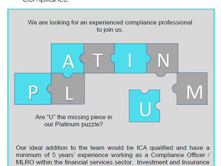 Come and join our Platinum team as a Compliance Consultant.