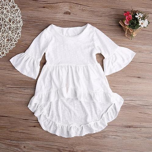 White Ruffled Cotton Blouse