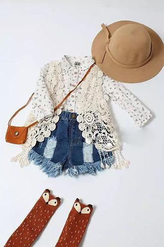 Lace Crochet Vest w/Tassels