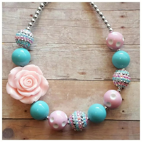 Blue & Pink Chunky Necklace